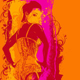 Woman in a corset and design elements. Background for CD cover, vector illustration Stock Images