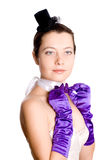 Woman in corset, gloves and little hat Royalty Free Stock Photos