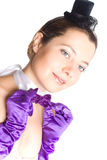 Woman in corset, gloves and little hat Stock Photos