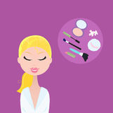 Woman with cosmetic accessories Stock Images