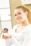 Woman with cosmetic cream royalty free stock images