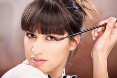 Woman and cosmetic makeup Royalty Free Stock Photos