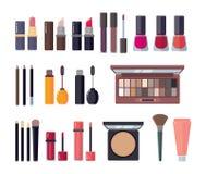 Woman Cosmetic. Makeup Beauty Accessories Bronzer Liquid Lipstick Nail Polish Mascara Makeup Pencil Eyelashes Powder Stock Photos