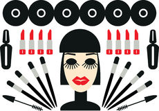 Woman and cosmetic Makeup minimalism illustration icons set Royalty Free Stock Images