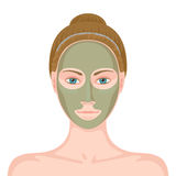 Woman with cosmetic mask on her face Royalty Free Stock Photo
