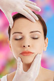 Woman before a cosmetic surgery Royalty Free Stock Image