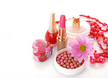 Woman cosmetics with flower Stock Photography