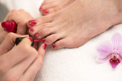Woman at cosmetics salon applying red nail polish on toenails Stock Image