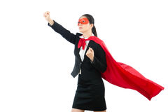 Woman cosplay superhero with gripped fist royalty free stock photography