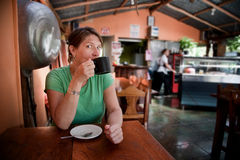 Woman in a Costa Rican cafe royalty free stock photos