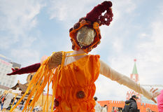 Woman in costume dances on street theaters show at open air White Nights Stock Photo