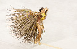 A woman in costume dancing on carnival at Sambodromo in Rio Stock Image