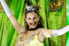 A woman in costume dancing on carnival at Sambodromo in Rio de Janeiro Royalty Free Stock Image