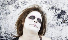 Woman costume satanic. Satanic disturbed woman with mental problems Royalty Free Stock Image