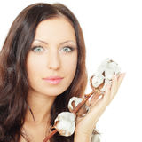 Woman with cotton Royalty Free Stock Images