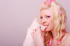 Woman with cotton candy Stock Photos