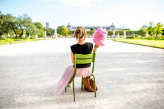 Woman with cotton candy at the park Royalty Free Stock Photography