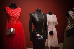 2a7d00515fe3 Woman cotton dresses. Woman clothes on mannequins at designer`s workshop  stock image