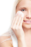 Woman with cotton pads Stock Photos