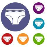 Woman cotton panties icons set. In flat circle red, blue and green color for web Royalty Free Stock Images