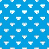 Woman cotton panties pattern seamless blue. Woman cotton panties pattern repeat seamless in blue color for any design. Vector geometric illustration Stock Image