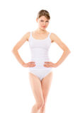 Woman in cotton underwear Royalty Free Stock Image