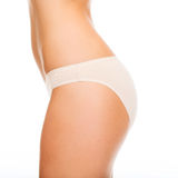 Woman in cotton underwear showing slimming concept Stock Images