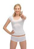 Woman in cotton undrewear with thumbs up Royalty Free Stock Photo