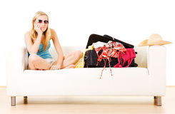 Woman on couch Royalty Free Stock Image