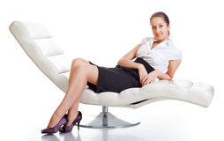 Woman on Couch Royalty Free Stock Photo