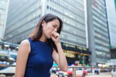 Woman cough at outdoor Stock Photography