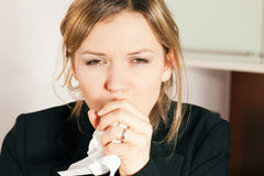 Woman coughing Stock Photography