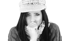 Woman coughing sick in winter black and white Royalty Free Stock Photography