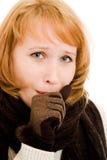A woman coughs Stock Photos