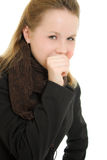 A woman coughs Royalty Free Stock Image