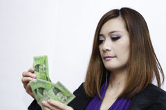Woman counting Royalty Free Stock Photo