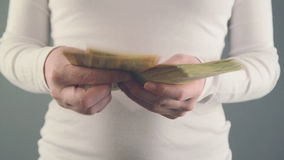 Woman counting 50 euro banknotes money. Concept of salary and home finances. 1920x1080 full hd footage stock video