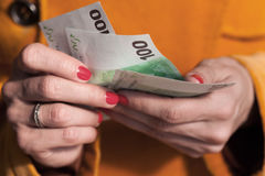 Woman counting euro  money Royalty Free Stock Image