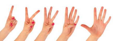 Woman counting with fingers Stock Photos