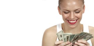 Woman counting Her Money On White stock photo