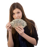 Woman Counting Money Stock Photography