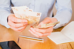 Woman Counting Money Stock Image