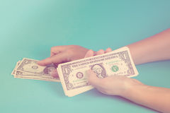 Woman counting money. Economy concept. Allocation of money. Toned. Royalty Free Stock Photo
