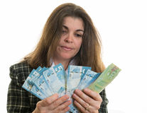 Woman Counting Money Royalty Free Stock Photography