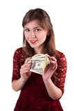 Woman counting money Royalty Free Stock Photo