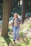 Woman On Country Walk Through Woodland. Towards Camera Royalty Free Stock Photos