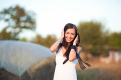 Woman in countryside Royalty Free Stock Images