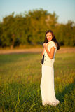 Woman in countryside Stock Photo