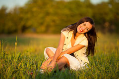 Woman in countryside Royalty Free Stock Image