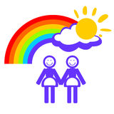Woman couple and rainbow Stock Image
